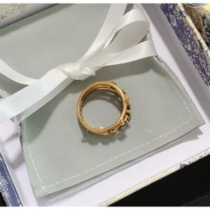 New Style Ring for Woman Diamond Shape Ring High Quality Brass Letter Charm Ring Fashion Jewelry Supplyl