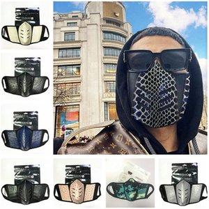 Unisex Designer Face Mask Struzzo Skin Design antipolvere anti-nebbia maschere viso uomini donne PU in pelle moda cover cover per feste all'aperto maschera per feste 2021