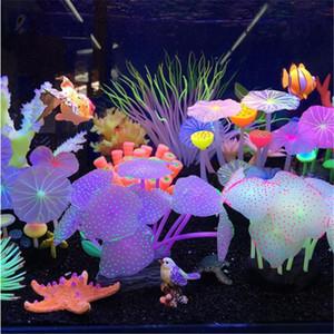 Aquariums Accessoires Artificiels Coral Récif rougeoyant Lotus Lotus Champignon Champignon Pierres lumineuses Décoration du réservoir de poisson avec des décorations de ventouse