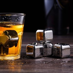 304 Stainless Steel Ice Cube Reusable Chilling Stones for Whiskey Wine Keep Your Drink Metal Ice Whiskey Red Wine Cooling T2I51764