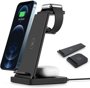 3 in 1 Wireless Charging Station QI Charger Docks Compatible for iPhone 12 11 ProMaxAirPods Pro Airpods 2 iWatch