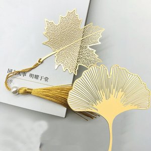 Vintage Ethnic Tassel Feuille Bookmarks Étudiants Fournitures en laiton en métal Feuille de marque Signets Student Cadeaux 1PCS