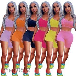2021 Новая мода женская персонализированная сексуальная асимметричная двухсекционная спортивная костюм летнего чистого цвета дизайнер одного плеча шорты тонкий костюм