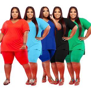 4x 5x Женщины Плюс Размер трексуиты Сплошной Цвет Два Части Наборы Летняя Одежда Повседневная Наряда Короткая футболка с коротким рукавом + Шорты 5433