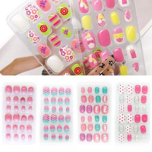 False Nails Kids Full Cover Press On Self Adhesive Nail Manicure Tips Candy Color Fake Art For Children 24Pcs box