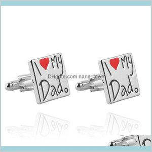 I Love My Dad Cufflinks Square Shape Cuff Links Fashion Jewelry Accessories For Men'S Shirt Father'S Day Gift C6Anq Yva13