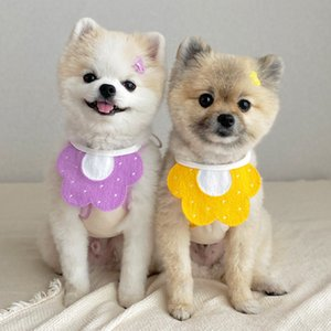 Pet Scarf Chrysanthemum Bee Korean Version Of The Pet Triangle Scarf Cat And Dog Accessories Bib Scarf Collar Pet Saliva Towel