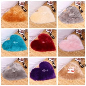 Office Plush Carpet Bedroom Soft Comfortable Simple Fluffy Cushion Mat Heart-shaped Thickened Non-slip Hairy Fur Rugs HWF10534