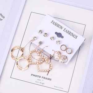 Stud Fashion Women'S Earrings Diamonds Pearl Pendants Geometric Six-Piece Set Trendy Jewelry Gifts