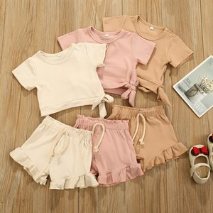 INS Wholesale Baby Kids Girls Boys Children Clothing Sets Knitted Cotton Suits Front Buttons Tops Straps Shorts 2Pieces Summer Outfits