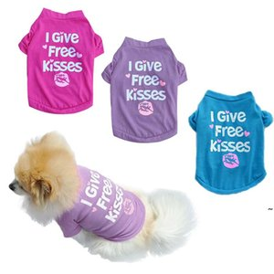 Hundebekleidung Welpen Sommer T-Shirt Ich geile Küsse gedruckt Baumwolle Weste Kleine Hunde Katze Chihuahua Outfit Owa4558