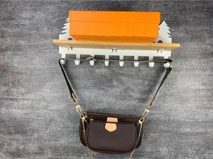 M44823 즐겨 찾기 멀티 Pochette 액세서리 디자이너 가방 5pcs L 꽃 패턴 PU 가죽 스타일 숙녀 지갑 어깨 크로스 바디 가방