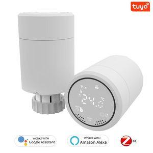 Smart Home Control 2021 Tuya Zigbee 3.0 المشعاع المحرك برمجة ترموستاتي صمام التحكم في درجة الحرارة مع Alexa Google