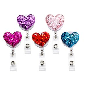 1pc Bling Love Heart Retractable Badge Holder Badge Clips for Nurse Id Badge Reel with Alligator Clip 4533 Q2