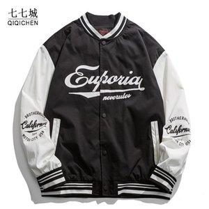 Мужская куртка колледжа Женщины хип-хоп письмо вышивка японская весна осень лоскутная бомбардировщик уличная одежда бейсбольная пара мужские куртки