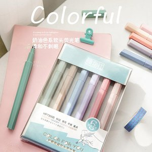 Highlighters 6 PCS lot Pastel Assorted Ink Set With Chisel Tip For Exams Scrapbooking Planner School Office Home