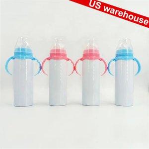 Склад США! 8oz Сублимационные тумблеры пустые Sippy Cup водяной молочко бутылка для молока, детская кружка ручка розовый синий из нержавеющей стали детские бутылки для детей малышей 1-5 Быстрая доставка