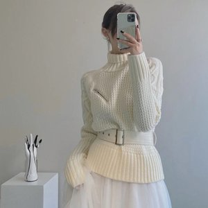 Knits Cuello Pullovers Turtelneck Suéteres Mujeres Invierno Cálido Pullover Sweater High Street Knitwear