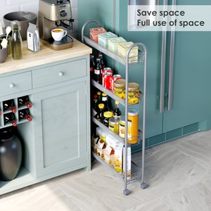 4-tier المطبخ الفجوة ضئيلة الشريحة خارج رف برج التخزين على عجلات، عربة الأداة المساعدة متعددة الوظائف، المتداول سلة الخزانة مع عجلات، فضي