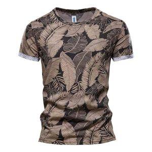 NEGIZBER Nouvelle feuille d'été imprimée T-shirts Hommes Colous O-Col 100% coton T-shirt Homme à manches courtes Été Homme Tops T-shirts 210329