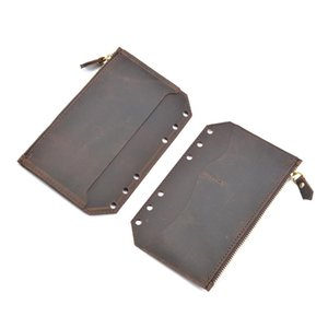 Business Card Files Moterm Genuine Leather Zipper Bag For A6 Notebook Accessory Pocker Storage 170x110mm Cowhide Diary