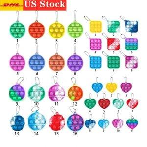 ABD Stok, Kravat Boyası Basit Demple Push Fidget Anahtarlık Duyusal Çocuk Fidget Oyuncaklar Stres Kabarcık Anahtarlık itme Kabarcık Kurulu Parmak Kolye