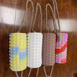 Tie Dye Push Pioneer Messenger Bag Children's Push Poppers Bubble Grils Handbag Rainbow Candy Colors Chain Bag Silicone Cylindrical Crossbody Pack G97VSS2