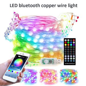 Strings LED String Light RGB USB Rechargeable Copper Wire Fairy With APP Remote Control For Home Bar Xmas Decor Party Supplies