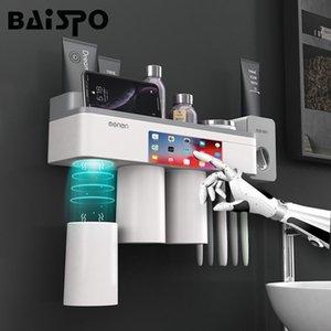 Baispo Home Accessori per il bagno Set Assorbimento magnetico Portaspazzollo con dentifricio Squeezer Dispenser Dispenser Rack 210322