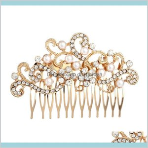 Pearl Rhinestone Brides Headwear Bridal Tiaras Party Prom Dresses Comb Accessories Head Piece For Bride N4Itc