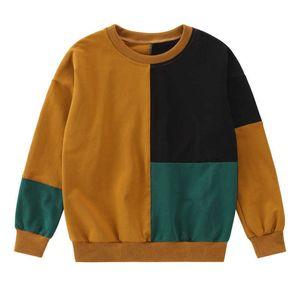 Spring New Kids Clothes Boys Sweatshirts boys Casual shirt patchwork teenage Students Autumn O-Neck long sleeve T-shirt blouse G0917