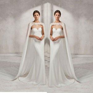 Robe de mariée de mariée de mariée de mariage de mariage Cape en mousseline de mariée en mousseline de soie avec veste en dentelle