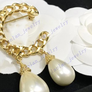 Women Designer Brooch Water Drop Glass Pearl Chain Classic Double Letter Logo With Original Box L-C13