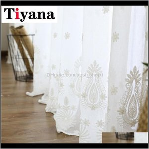 White Sheer Raindrop Design Tulle For Living Room Bay Window Kitchen Quality Embroidered Cortinas P279D3 7Byv8 Drapes 9Vnoy