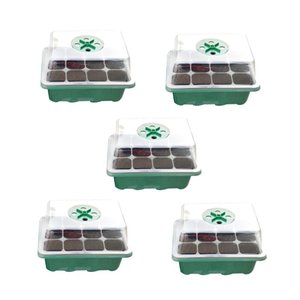 Planters & Pots Seedling Starter Tray Propagator Reusable Yard Growing Plant 12 Cells Nursery Humidity Adjustable With Dome Base Garden