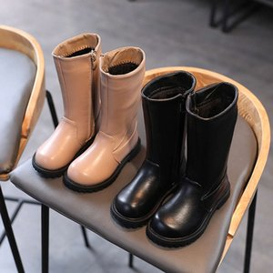 bootsin autumn and winter Korean girls' plush cotton shoes middle school kids' antiskid high top Martin boots