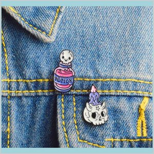 Potion Skeleton And Candle Skeleton Brooch Pin Enamel Pin Badges Brooches Witch Pins Witchcraft Skull Jewelry Mykpr Qjvxa