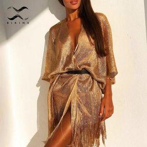 여자 수영복 술 골드 비키니 커버 섹시한 해변 드레스 튜닉 여성 비치웨어 2021 여름 수영복 cover-ups kaftan을 통해 참조
