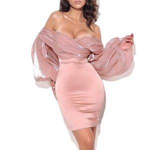 Ocstrade Şeftali Kapalı Omuz Balon Kol Parti Elbise 2021 Varış Seksi Bodycon Kadın Yaz Gece Kulübü Kıyafetler Günlük Elbiseler
