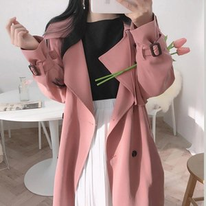 Women's Trench Coats French Retro Chic Autumn Lapel Bind Accept Waist Double-breasted Paragraph Dust Coat Grows In Loose Knee-length