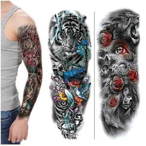 Lion Tiger Head Большой узор Водонепроницаемый Полный Рукой Татуировка Татуировка Наклейка Цветочная Рука Большой Узор Вода Передача Стиль Стиль Стиль
