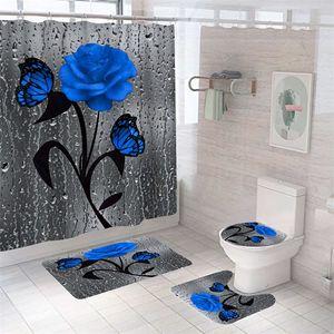 bathroom sets shower curtain set 4 pieces a set waterproof washroom bath curtains lid toilet cover mat non-slip pedestal rug set 685 S2