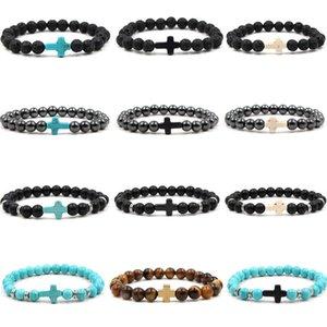 Armbänder Perlen Stränge Turquoise Crorss Paare Frauen Armband Frosted Lava Stein Tiger Eye Männer Armreifen Schmuck Geschenk