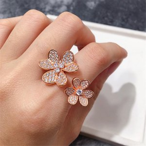 Fashion Lucky 4 Four Leaf Clover 3 Flowers Open Band Rings with Diamonds S925 Silver 18K Gold for Women&Girls Valentine's Mother's Day Engagement Jewelry Gift