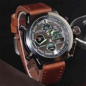 AMST военные часы погружение 50 м Nylonleather ремешок светодиодные часы мужчины верхний бренд роскошный кварцевый часы Reloj Hombre Relogio Masculino 210329