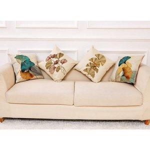 Cushion Decorative Pillow Cotton Linen Decorative Cushion Cover For Couch 45x45cm Gingko Leaves Jacquard Luxury Throw Sofa Waist Pillowcase