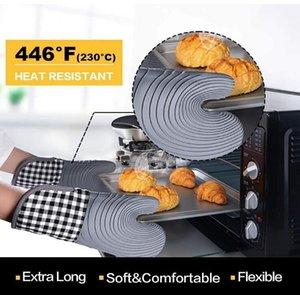 Cozinha Silicone 4 Pc Luvas Sets Engrossar Mitts Forno Impermeável Cozinhar Luva Flexível Pot Flexible Mitt Set