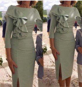 Элегантные короткие оболочки материнские платья 2021 длина колена Мать невесты платья 3/4 с длинным рукавом пляж свадебное гостевое платье