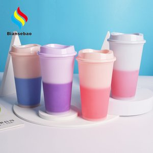 16Oz Cold Change Plastic Cup Custom Pattern Color Changing Plastic Cup Single Layer Straw Pp Coffee Plastic Cup Factory Bottle