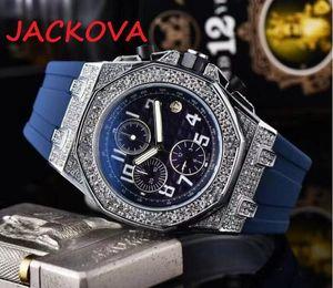 Diamond Bezel Steel Case Skeleton Dial Watch Big Date Automatic Mens Wristwatch Stopwatch Rubber Diamonds Sports Watches